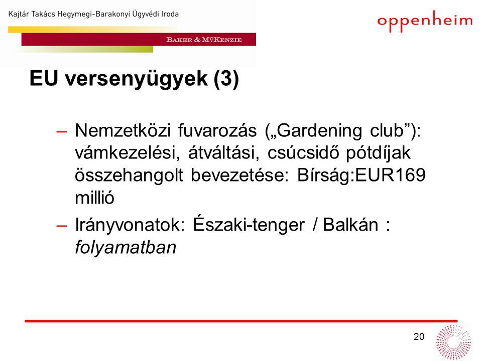 """20 EU versenyügyek (3) –Nemzetközi fuvarozás (""""Gardening club ): vámkezelési, átváltási, csúcsidő pótdíjak összehangolt bevezetése: Bírság:EUR169 millió –Irányvonatok: Északi-tenger / Balkán : folyamatban"""