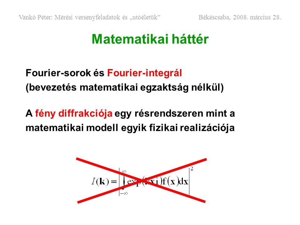 Matematikai háttér Fourier-sorok és Fourier-integrál (bevezetés matematikai egzaktság nélkül) A fény diffrakciója egy résrendszeren mint a matematikai