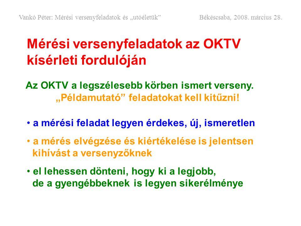 """Mérési versenyfeladatok az OKTV kísérleti fordulóján Az OKTV a legszélesebb körben ismert verseny. """"Példamutató"""" feladatokat kell kitűzni! • a mérési"""
