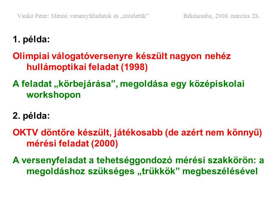 """Vankó Péter: Mérési versenyfeladatok és """"utóéletük"""" Békéscsaba, 2008. március 28. 1. példa: Olimpiai válogatóversenyre készült nagyon nehéz hullámopti"""