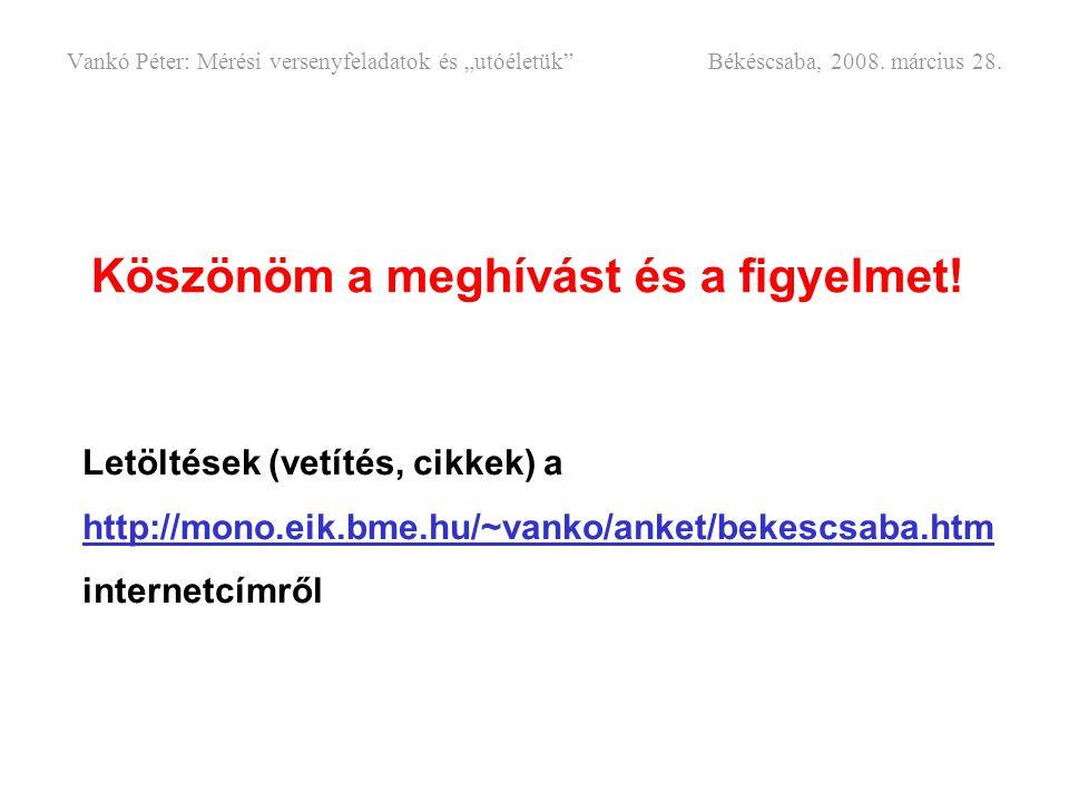 Köszönöm a meghívást és a figyelmet! Letöltések (vetítés, cikkek) a http://mono.eik.bme.hu/~vanko/anket/bekescsaba.htm internetcímről