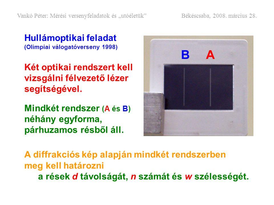 Hullámoptikai feladat (Olimpiai válogatóverseny 1998) Két optikai rendszert kell vizsgálni félvezető lézer segítségével. Mindkét rendszer (A és B) néh