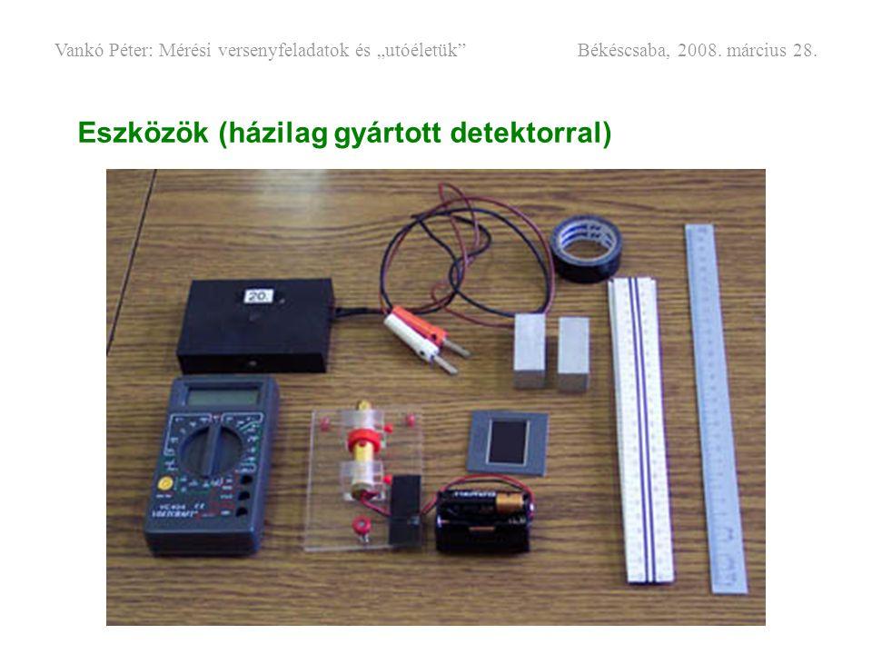 """Eszközök (házilag gyártott detektorral) Vankó Péter: Mérési versenyfeladatok és """"utóéletük"""" Békéscsaba, 2008. március 28."""
