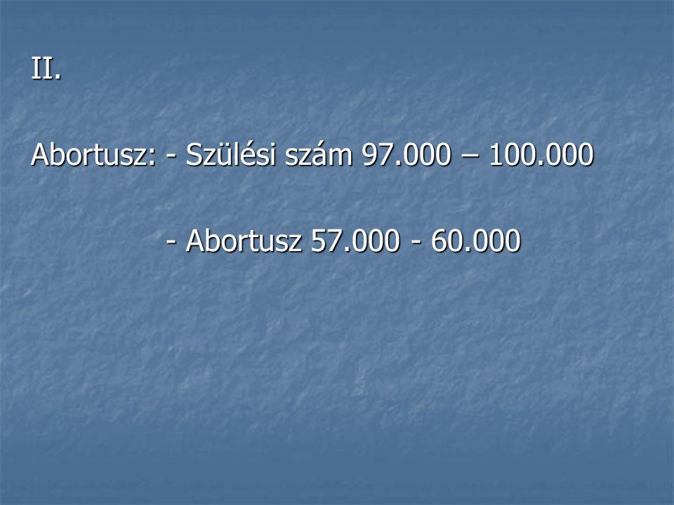 II. Abortusz:- Szülési szám 97.000 – 100.000 - Abortusz 57.000 - 60.000