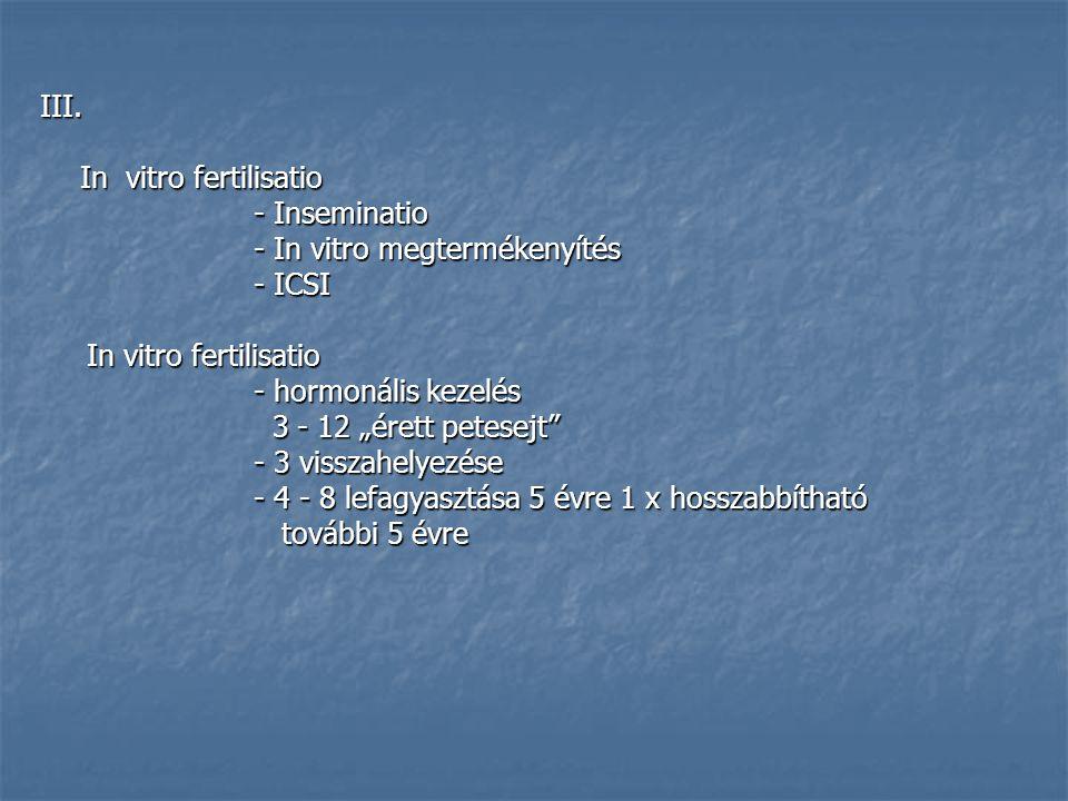 "III. In vitro fertilisatio - Inseminatio - In vitro megtermékenyítés - ICSI In vitro fertilisatio In vitro fertilisatio - hormonális kezelés 3 - 12 ""é"