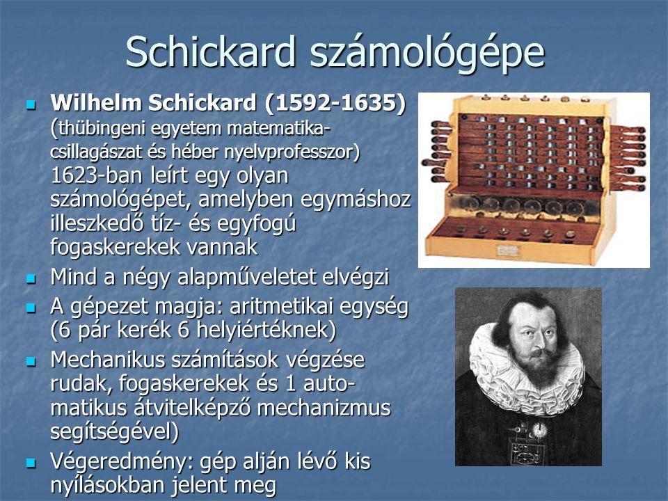 Schickard számológépe  Wilhelm Schickard (1592-1635) ( thübingeni egyetem matematika- csillagászat és héber nyelvprofesszor) 1623-ban leírt egy olyan számológépet, amelyben egymáshoz illeszkedő tíz- és egyfogú fogaskerekek vannak  Mind a négy alapműveletet elvégzi  A gépezet magja: aritmetikai egység (6 pár kerék 6 helyiértéknek)  Mechanikus számítások végzése rudak, fogaskerekek és 1 auto- matikus átvitelképző mechanizmus segítségével)  Végeredmény: gép alján lévő kis nyílásokban jelent meg