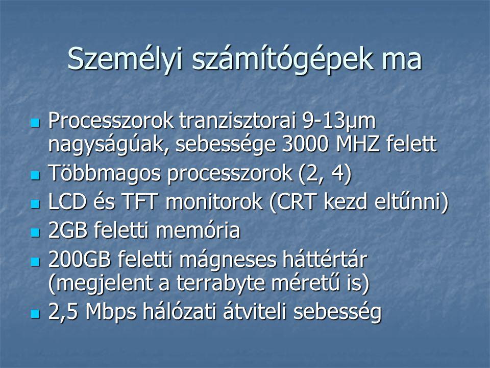 Személyi számítógépek ma  Processzorok tranzisztorai 9-13µm nagyságúak, sebessége 3000 MHZ felett  Többmagos processzorok (2, 4)  LCD és TFT monitorok (CRT kezd eltűnni)  2GB feletti memória  200GB feletti mágneses háttértár (megjelent a terrabyte méretű is)  2,5 Mbps hálózati átviteli sebesség