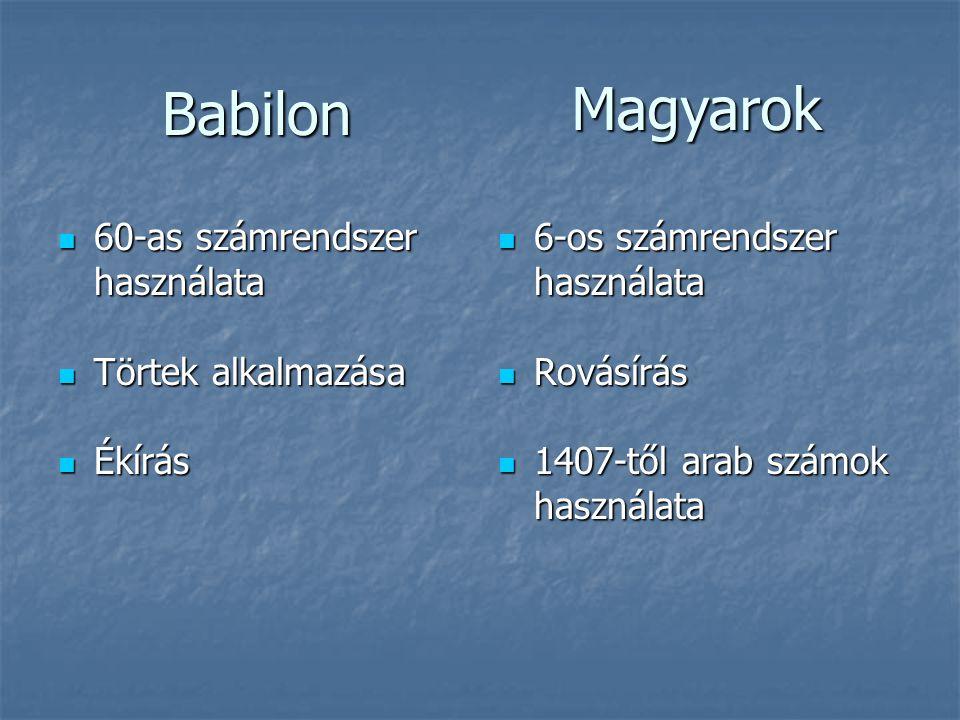 Babilon  60-as számrendszer használata  Törtek alkalmazása  Ékírás  6-os számrendszer használata  Rovásírás  1407-től arab számok használata Mag