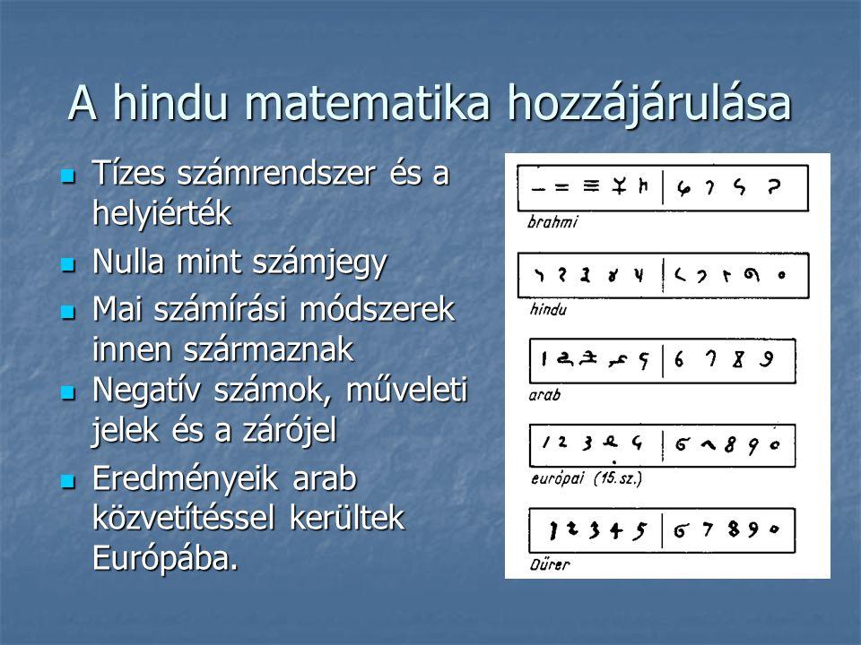 A hindu matematika hozzájárulása  Tízes számrendszer és a helyiérték  Nulla mint számjegy  Mai számírási módszerek innen származnak  Negatív számok, műveleti jelek és a zárójel  Eredményeik arab közvetítéssel kerültek Európába.