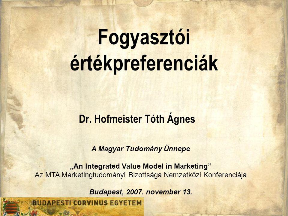 Fogyasztói értékpreferenciák Dr.