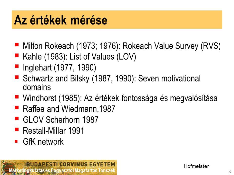 Marketingkutatás és Fogyasztói Magatartás Tanszék 3 Az értékek mérése  Milton Rokeach (1973; 1976): Rokeach Value Survey (RVS)  Kahle (1983): List of Values (LOV)  Inglehart (1977, 1990)  Schwartz and Bilsky (1987, 1990): Seven motivational domains  Windhorst (1985): Az értékek fontossága és megvalósítása  Raffee and Wiedmann,1987  GLOV Scherhorn 1987  Restall-Millar 1991  GfK network Hofmeister