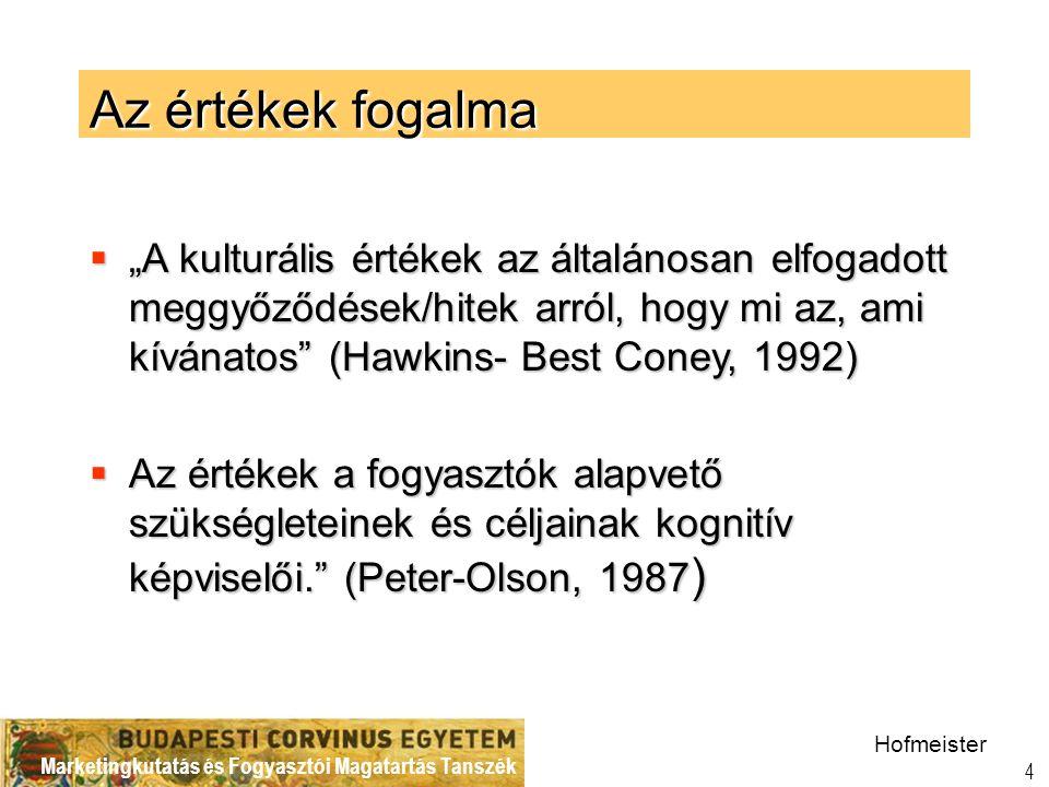 Marketingkutatás és Fogyasztói Magatartás Tanszék 5 Értékkutatások Magyarországon BCE Marketing  ACE/ Evolving Values in Eastern Europe, 1992  VALS 1996  Monitoring: Fogyasztó értékek(Consumer Sentiment Index kutatás) –1997, 2001, 2002, 2004  A Budapesti és Bécsi Menedzserek értékei, 2000 –Kuturális standardok  Materialista értékek (Belk, Richins and Dawson) 2000  Monitoring BCE hallgatók 1992-2002  Kisérletezés többféle értéklistával és módszerrel  2005-2006 globális értékek Hofmeister