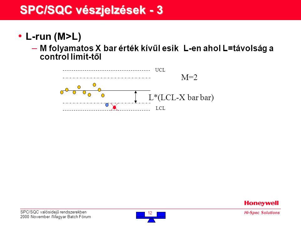 SPC/SQC valósidejű rendszerekben 2000 November /Magyar Batch Fórum 12 Hi-Spec Solutions SPC/SQC vészjelzések - 3 • L-run (M>L) – M folyamatos X bar érték kívűl esik L-en ahol L=távolság a control limit-től M=2 UCL LCL L*(LCL-X bar bar)