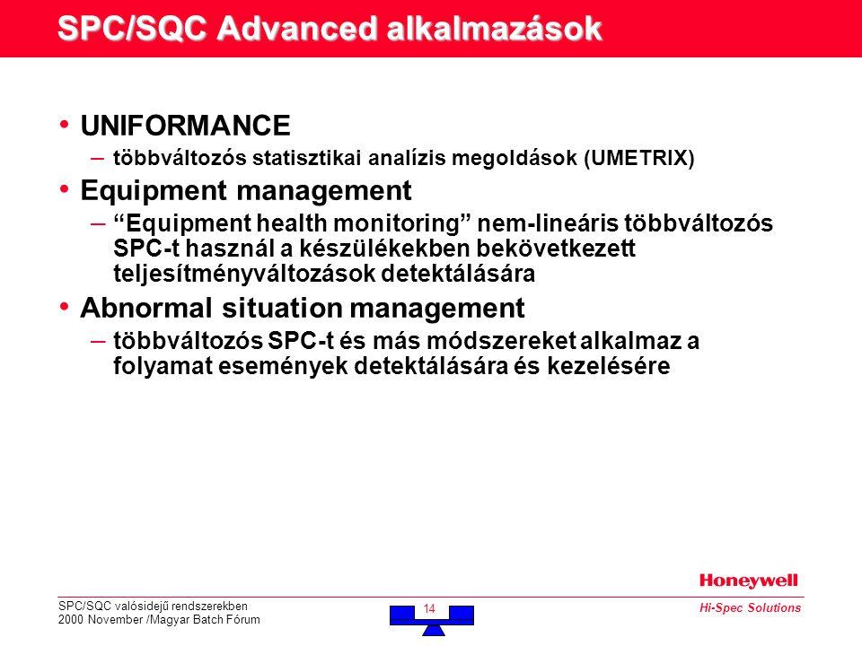 SPC/SQC valósidejű rendszerekben 2000 November /Magyar Batch Fórum 14 Hi-Spec Solutions SPC/SQC Advanced alkalmazások • UNIFORMANCE – többváltozós statisztikai analízis megoldások (UMETRIX) • Equipment management – Equipment health monitoring nem-lineáris többváltozós SPC-t használ a készülékekben bekövetkezett teljesítményváltozások detektálására • Abnormal situation management – többváltozós SPC-t és más módszereket alkalmaz a folyamat események detektálására és kezelésére