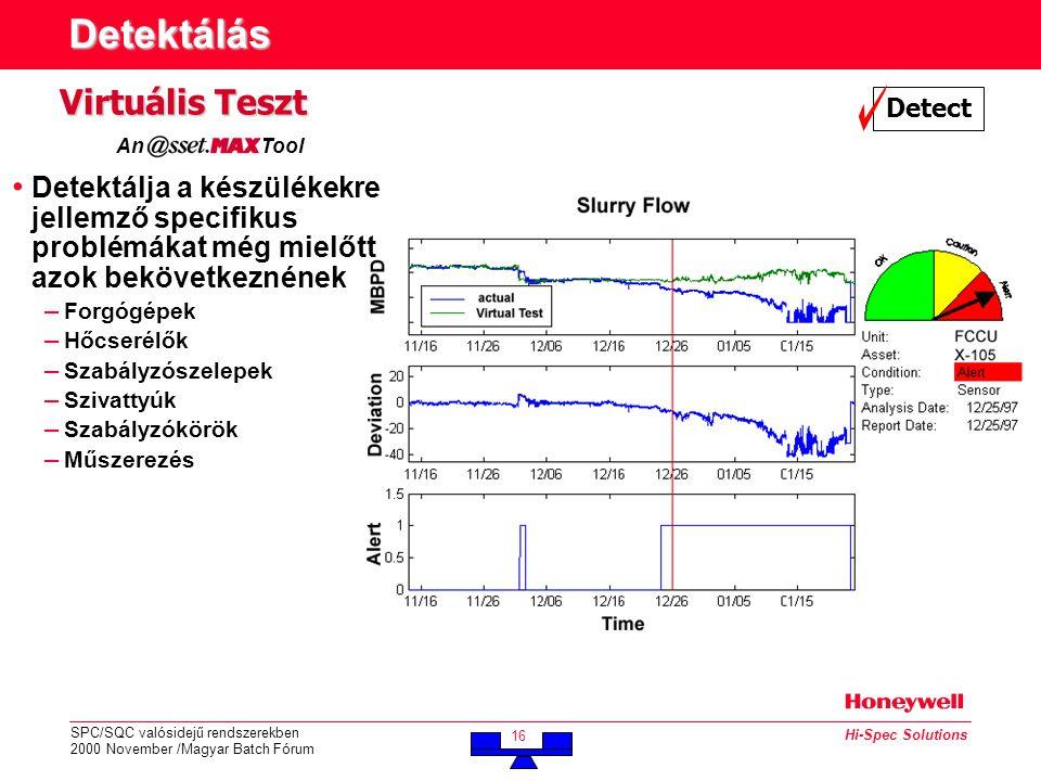 SPC/SQC valósidejű rendszerekben 2000 November /Magyar Batch Fórum 16 Hi-Spec Solutions Detektálás Detect Virtuális Teszt An Tool • Detektálja a készülékekre jellemző specifikus problémákat még mielőtt azok bekövetkeznének – Forgógépek – Hőcserélők – Szabályzószelepek – Szivattyúk – Szabályzókörök – Műszerezés