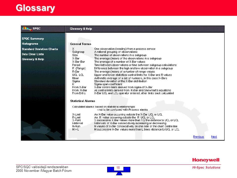 SPC/SQC valósidejű rendszerekben 2000 November /Magyar Batch Fórum 18 Hi-Spec Solutions Glossary
