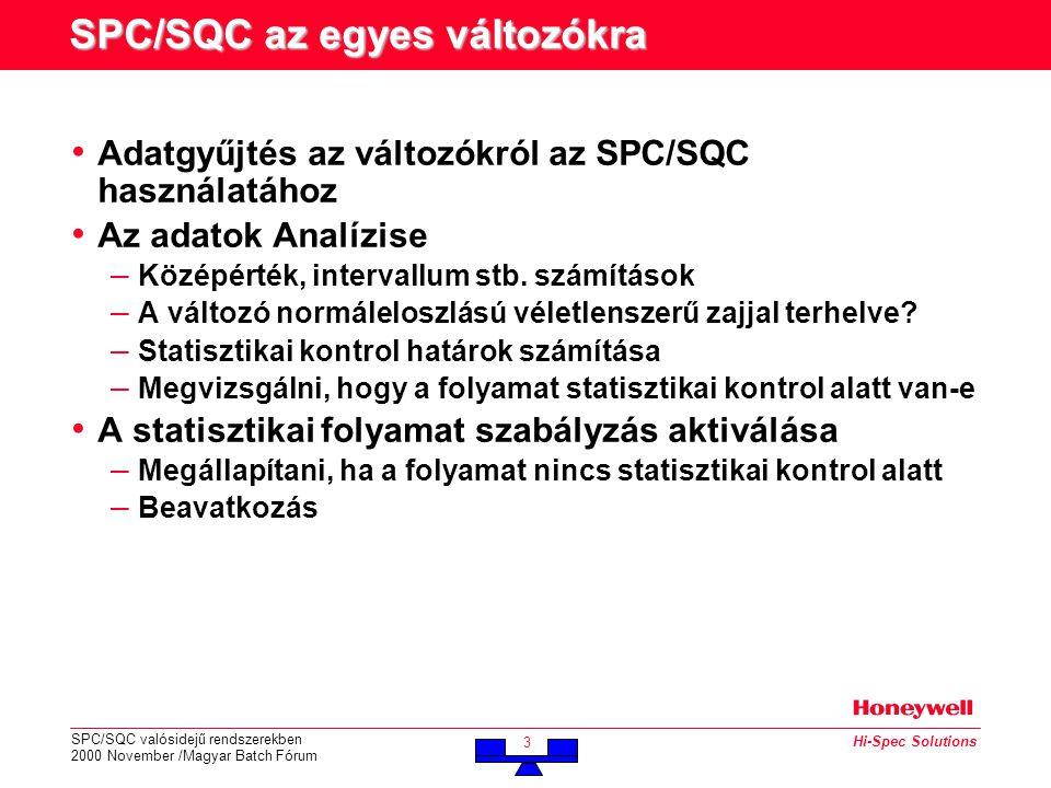 SPC/SQC valósidejű rendszerekben 2000 November /Magyar Batch Fórum 3 Hi-Spec Solutions SPC/SQC az egyes változókra • Adatgyűjtés az változókról az SPC/SQC használatához • Az adatok Analízise – Középérték, intervallum stb.