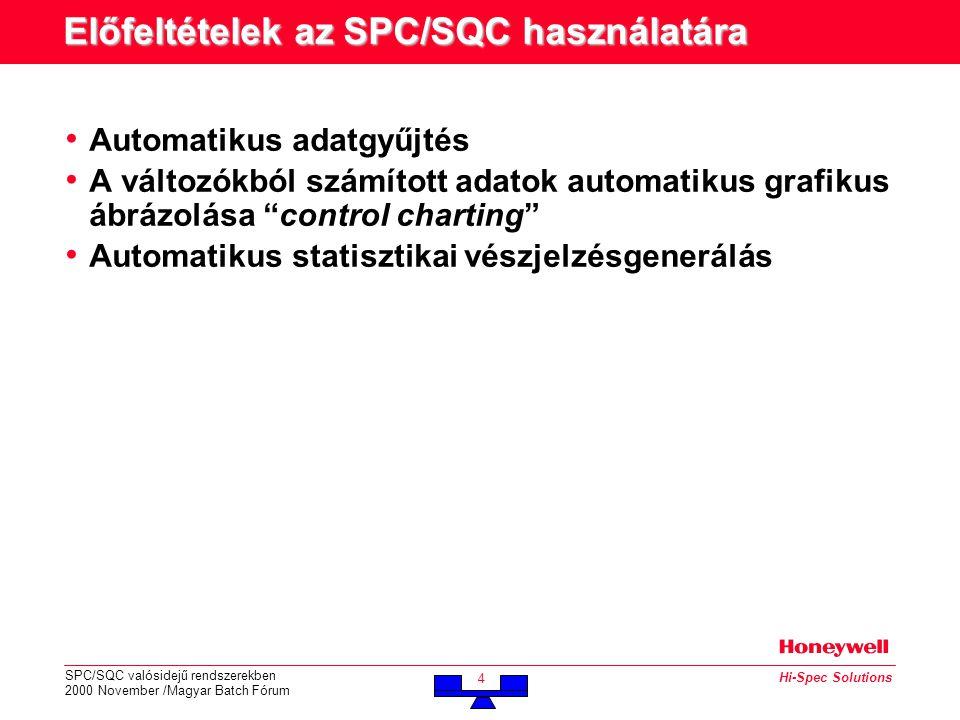 SPC/SQC valósidejű rendszerekben 2000 November /Magyar Batch Fórum 4 Hi-Spec Solutions Előfeltételek az SPC/SQC használatára • Automatikus adatgyűjtés • A változókból számított adatok automatikus grafikus ábrázolása control charting • Automatikus statisztikai vészjelzésgenerálás