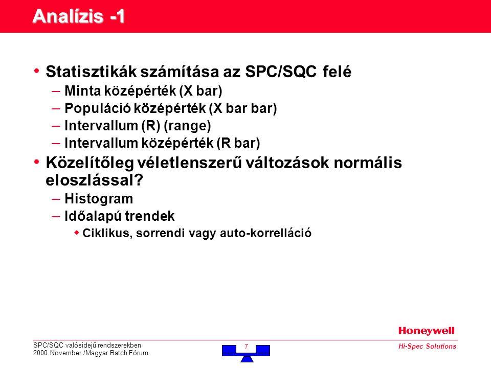 SPC/SQC valósidejű rendszerekben 2000 November /Magyar Batch Fórum 7 Hi-Spec Solutions Analízis -1 • Statisztikák számítása az SPC/SQC felé – Minta középérték (X bar) – Populáció középérték (X bar bar) – Intervallum (R) (range) – Intervallum középérték (R bar) • Közelítőleg véletlenszerű változások normális eloszlással.