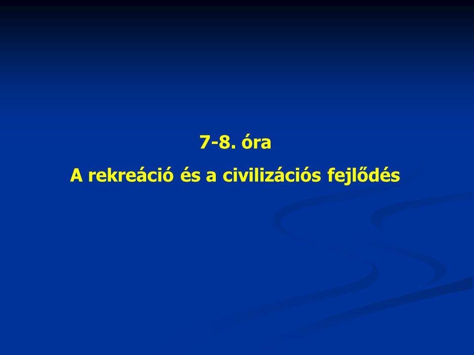 7-8. óra A rekreáció és a civilizációs fejlődés