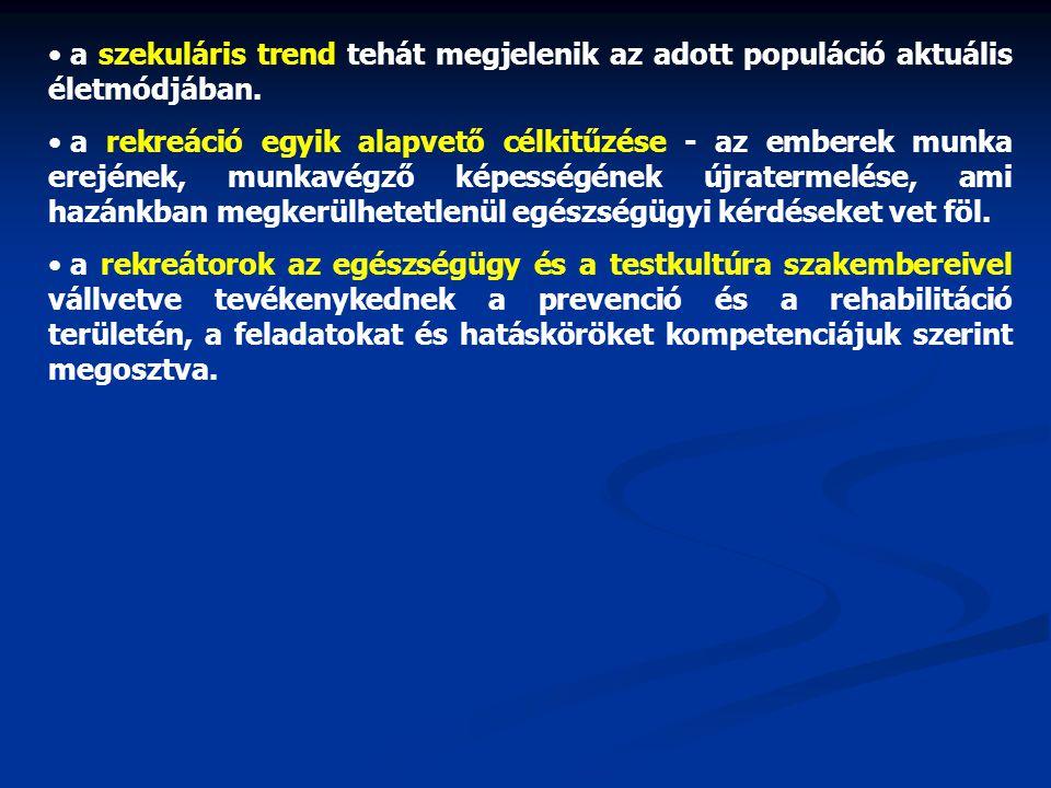 • a szekuláris trend tehát megjelenik az adott populáció aktuális életmódjában. • a rekreáció egyik alapvető célkitűzése - az emberek munka erejének,