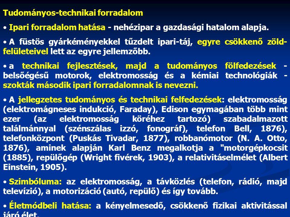 Tudományos-technikai forradalom • Ipari forradalom hatása - nehézipar a gazdasági hatalom alapja. • A füstös gyárkéményekkel tűzdelt ipari-táj, egyre