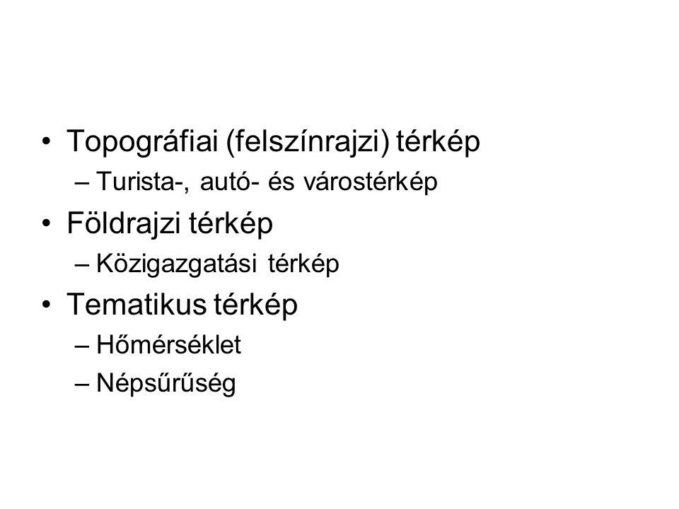 •Topográfiai (felszínrajzi) térkép –Turista-, autó- és várostérkép •Földrajzi térkép –Közigazgatási térkép •Tematikus térkép –Hőmérséklet –Népsűrűség