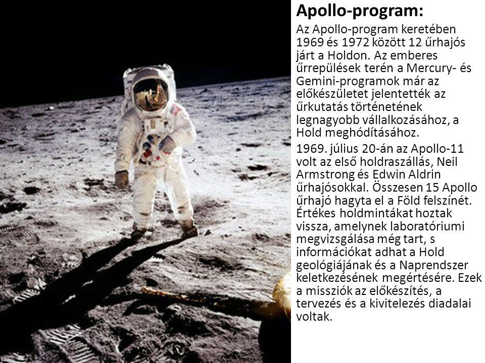 • Apollo-program: • Az Apollo-program keretében 1969 és 1972 között 12 űrhajós járt a Holdon. Az emberes űrrepülések terén a Mercury- és Gemini-progra