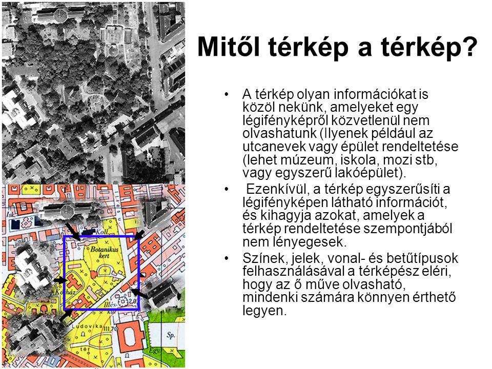 Mitől térkép a térkép? •A térkép olyan információkat is közöl nekünk, amelyeket egy légifényképről közvetlenül nem olvashatunk (Ilyenek például az utc