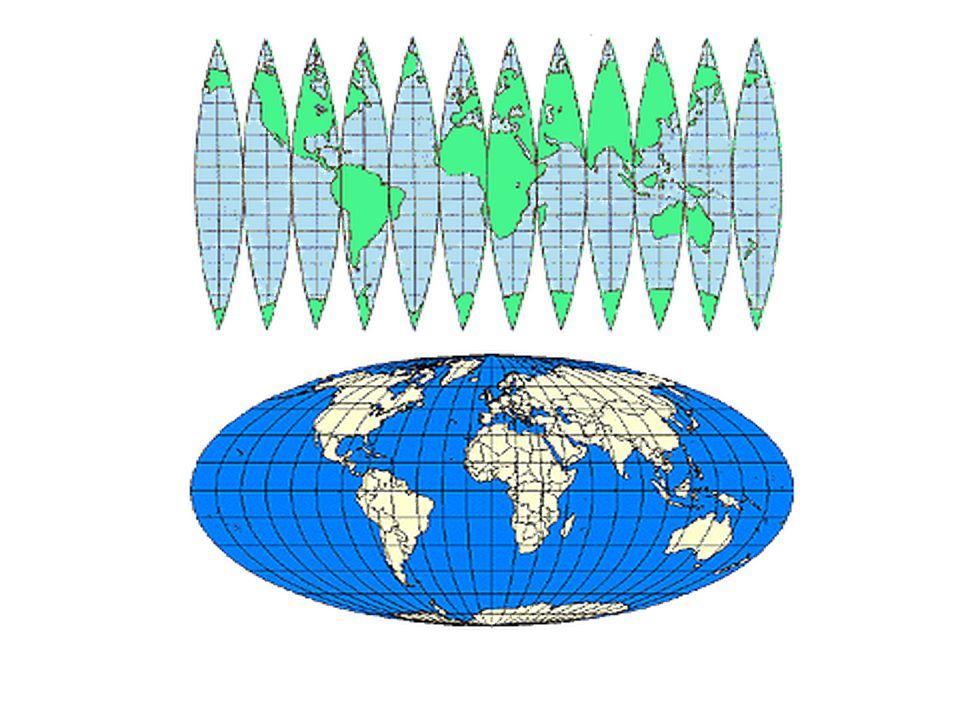 Vetületek típusai -mit (nem) torzítnak •Síkvetület – egy pontot (pólus) mutat szépen