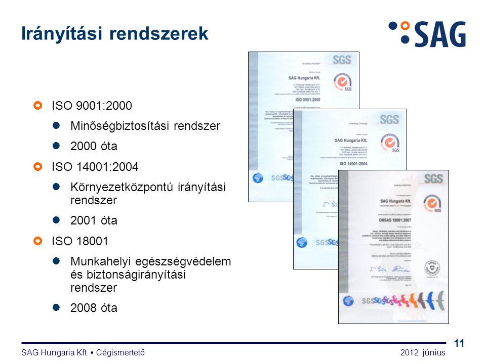 2012. június SAG Hungaria Kft.  Cégismertető 11  ISO 9001:2000  Minőségbiztosítási rendszer  2000 óta  ISO 14001:2004  Környezetközpontú irányít