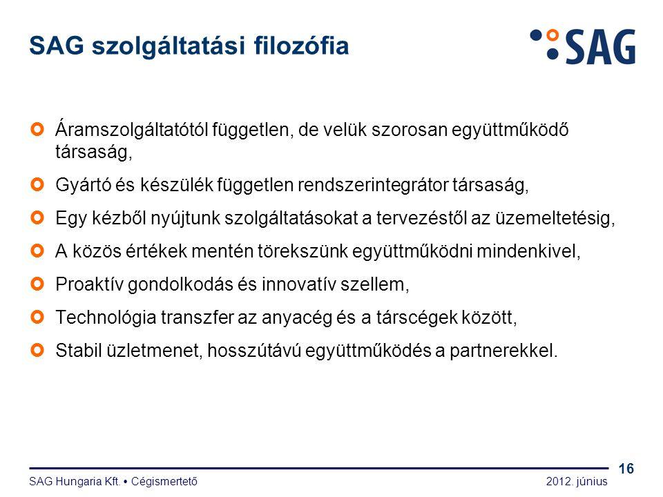 2012. június SAG Hungaria Kft.  Cégismertető 16 SAG szolgáltatási filozófia  Áramszolgáltatótól független, de velük szorosan együttműködő társaság,