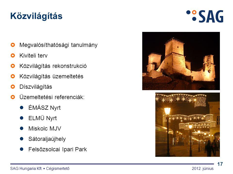 2012. június SAG Hungaria Kft.  Cégismertető 17 Közvilágítás  Megvalósíthatósági tanulmány  Kiviteli terv  Közvilágítás rekonstrukció  Közvilágít
