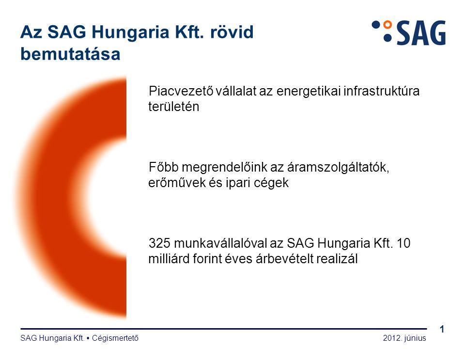 2012. június SAG Hungaria Kft.  Cégismertető 1 Az SAG Hungaria Kft. rövid bemutatása Piacvezető vállalat az energetikai infrastruktúra területén Főbb