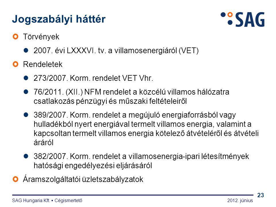 2012. június SAG Hungaria Kft.  Cégismertető 23 Jogszabályi háttér  Törvények  2007. évi LXXXVI. tv. a villamosenergiáról (VET)  Rendeletek  273/