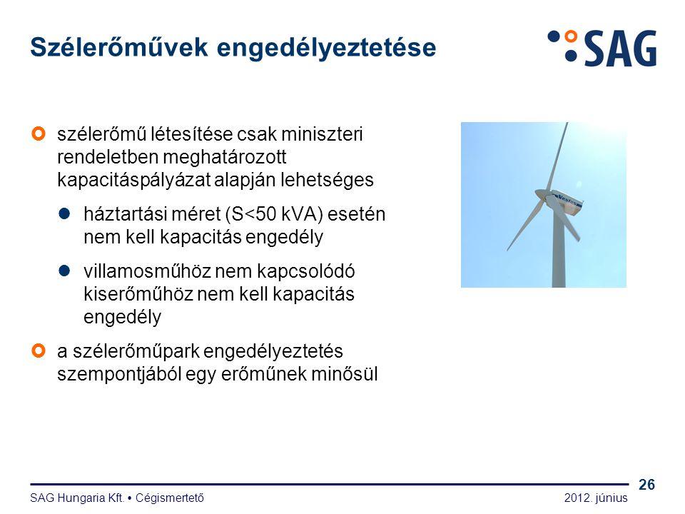 2012. június SAG Hungaria Kft.  Cégismertető 26 Szélerőművek engedélyeztetése  szélerőmű létesítése csak miniszteri rendeletben meghatározott kapaci