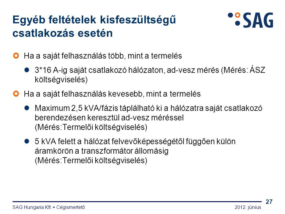 2012. június SAG Hungaria Kft.  Cégismertető 27 Egyéb feltételek kisfeszültségű csatlakozás esetén  Ha a saját felhasználás több, mint a termelés 