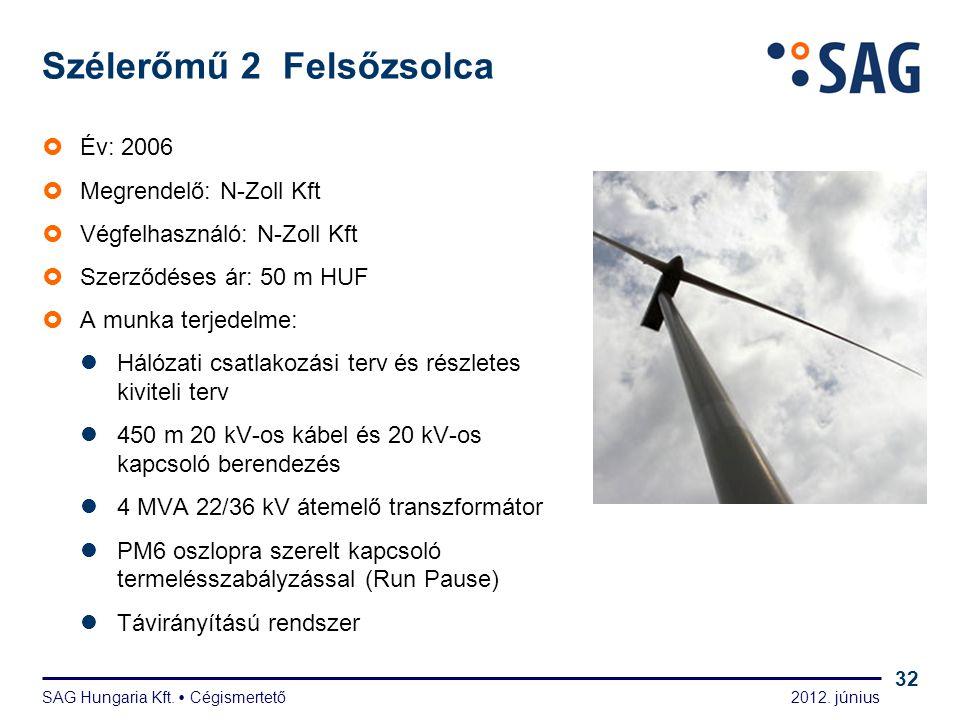 2012. június SAG Hungaria Kft.  Cégismertető 32 Szélerőmű 2 Felsőzsolca  Év: 2006  Megrendelő: N-Zoll Kft  Végfelhasználó: N-Zoll Kft  Szerződése