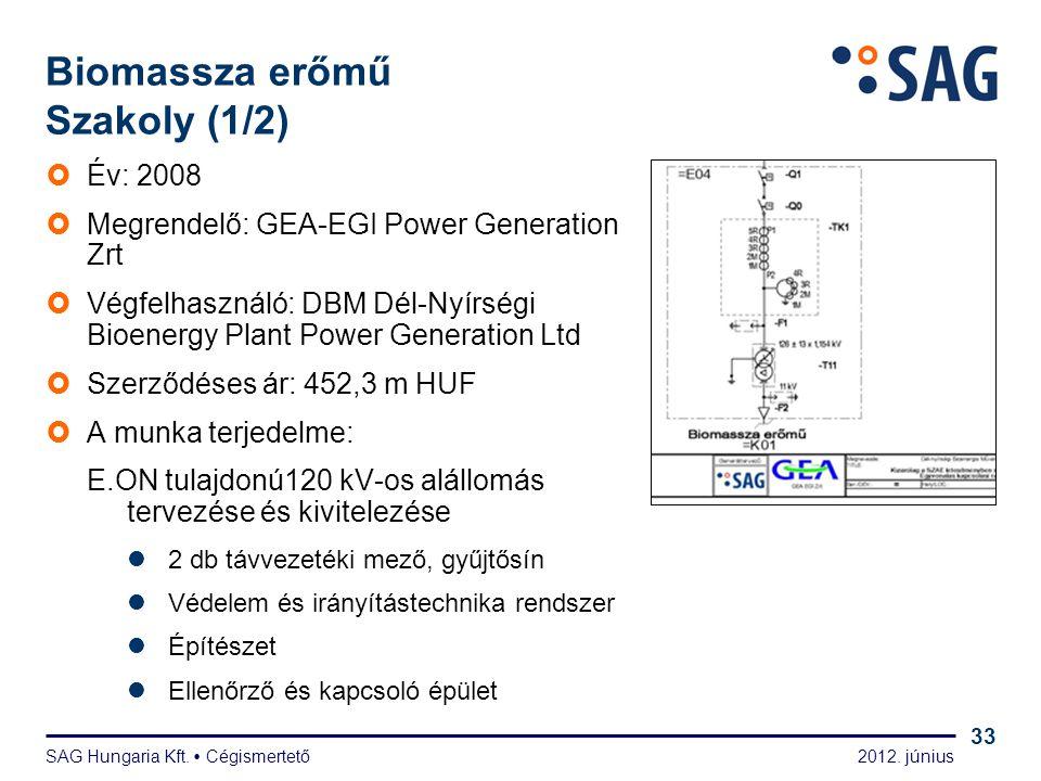 2012. június SAG Hungaria Kft.  Cégismertető 33 Biomassza erőmű Szakoly (1/2)  Év: 2008  Megrendelő: GEA-EGI Power Generation Zrt  Végfelhasználó: