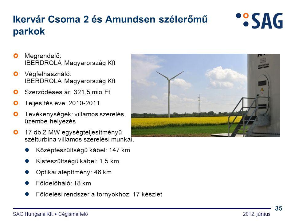 2012. június SAG Hungaria Kft.  Cégismertető 35 Ikervár Csoma 2 és Amundsen szélerőmű parkok  Megrendelő: IBERDROLA Magyarország Kft  Végfelhasznál