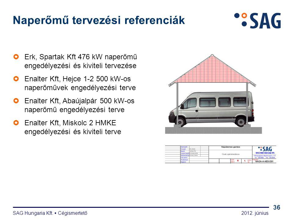 2012. június SAG Hungaria Kft.  Cégismertető 36 Naperőmű tervezési referenciák  Erk, Spartak Kft 476 kW naperőmű engedélyezési és kiviteli tervezése