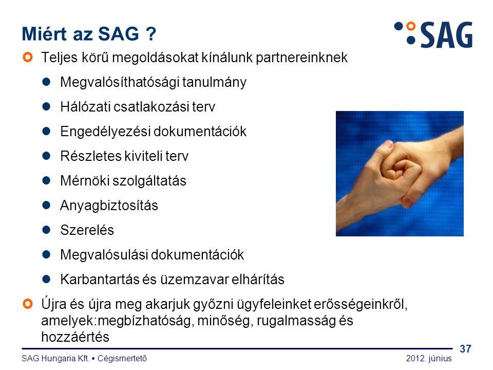 2012. június SAG Hungaria Kft.  Cégismertető 37  Teljes körű megoldásokat kínálunk partnereinknek  Megvalósíthatósági tanulmány  Hálózati csatlako
