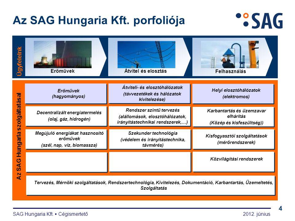 2012. június SAG Hungaria Kft.  Cégismertető 4 Az SAG Hungaria Kft. porfoliója Ügyfeleink Átvitel és elosztás Felhasználás Az SAG Hungaria szolgáltat
