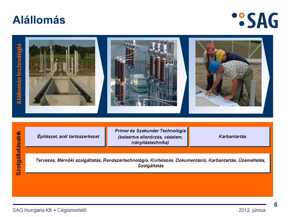2012. június SAG Hungaria Kft.  Cégismertető 6 Alállomás Alállomás technológia Szolgáltatásaink Primer és Szekunder Technológia (beleértve ellenőrzés