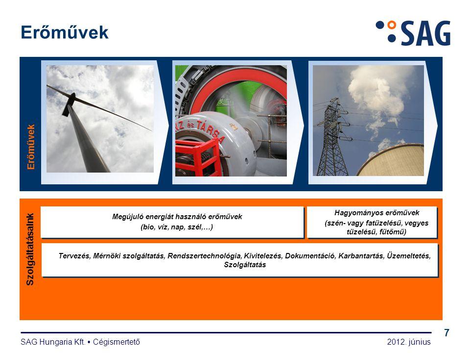 2012. június SAG Hungaria Kft.  Cégismertető 7 Erőművek Szolgáltatásaink Hagyományos erőművek (szén- vagy fatüzelésű, vegyes tüzelésű, fütőmű) Hagyom
