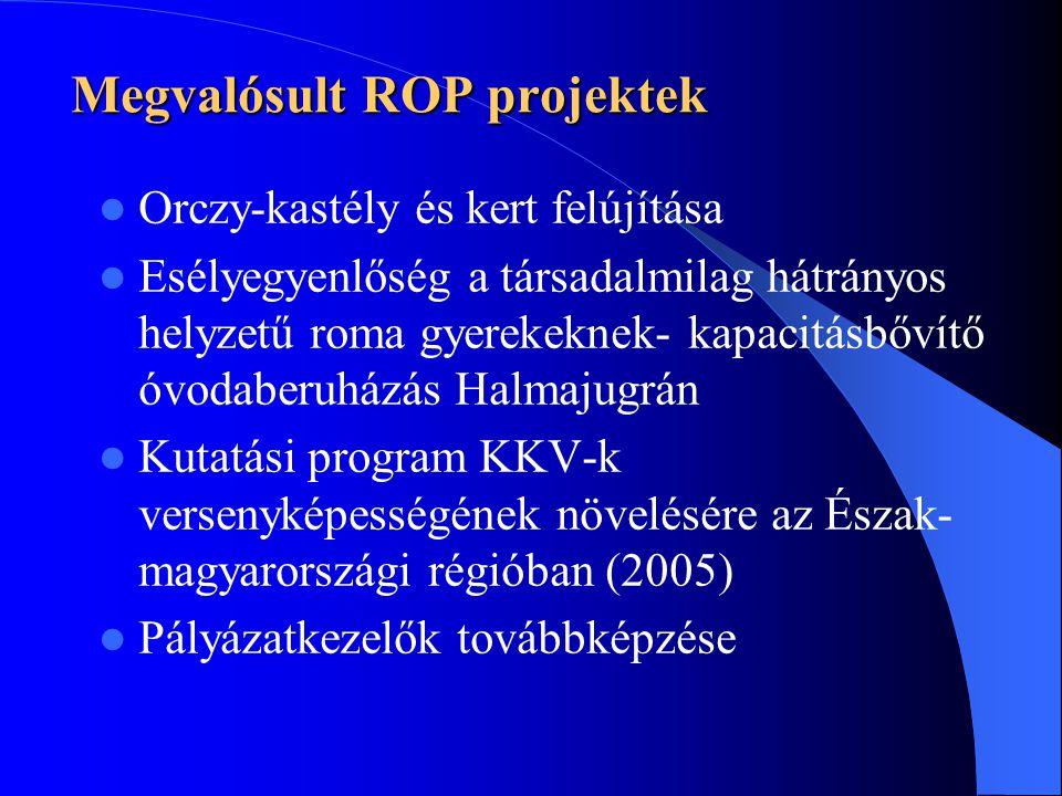 Megvalósult ROP projektek  Orczy-kastély és kert felújítása  Esélyegyenlőség a társadalmilag hátrányos helyzetű roma gyerekeknek- kapacitásbővítő óvodaberuházás Halmajugrán  Kutatási program KKV-k versenyképességének növelésére az Észak- magyarországi régióban (2005)  Pályázatkezelők továbbképzése