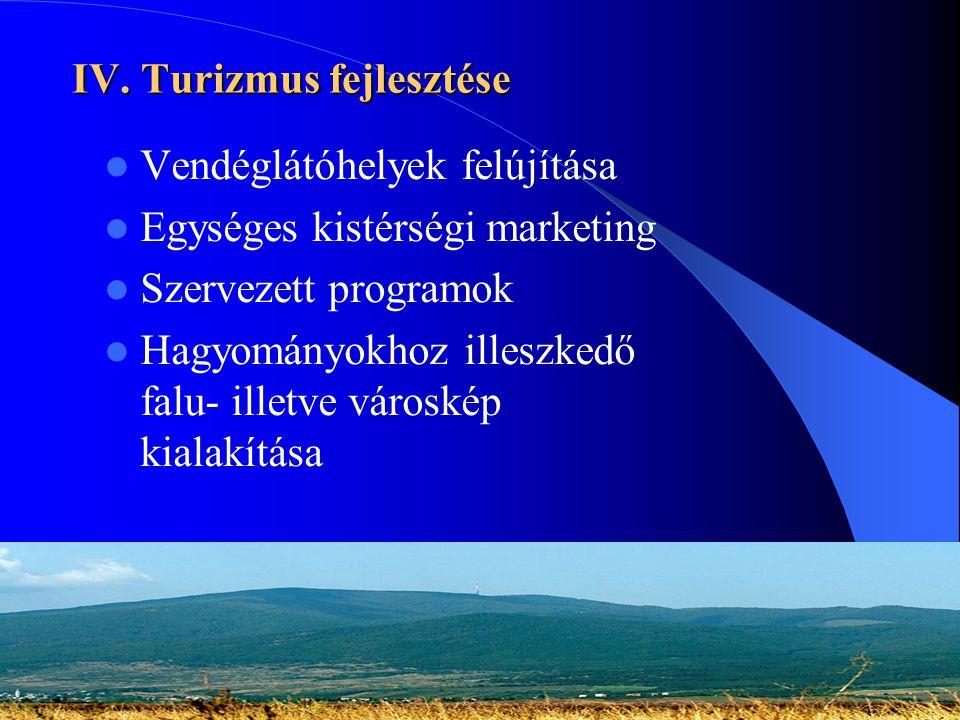 IV. Turizmus fejlesztése  Vendéglátóhelyek felújítása  Egységes kistérségi marketing  Szervezett programok  Hagyományokhoz illeszkedő falu- illetv