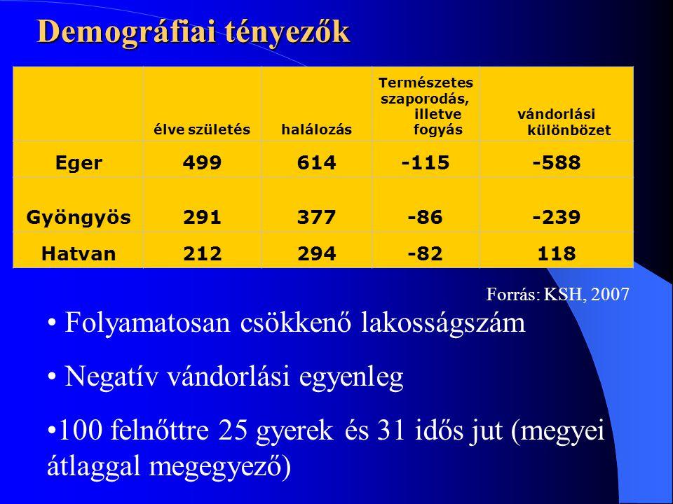 Demográfiai tényezők élve születéshalálozás Természetes szaporodás, illetve fogyás vándorlási különbözet Eger499614-115-588 Gyöngyös291377-86-239 Hatvan212294-82118 • Folyamatosan csökkenő lakosságszám • Negatív vándorlási egyenleg •100 felnőttre 25 gyerek és 31 idős jut (megyei átlaggal megegyező) Forrás: KSH, 2007