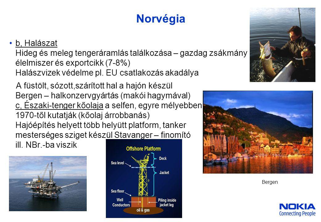 Company Confidential Norvégia •b, Halászat Hideg és meleg tengeráramlás találkozása – gazdag zsákmány élelmiszer és exportcikk (7-8%) Halászvizek védelme pl.