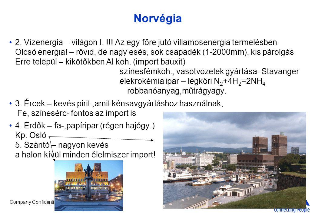 Company Confidential Norvégia •2, Vízenergia – világon I. !!! Az egy főre jutó villamosenergia termelésben Olcsó energia! – rövid, de nagy esés, sok c